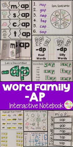 This is a Word Family Interactive Notebook to help students practice and learn CVC words and word families. There are 22 different activities for the word family -ap to help your students master the word family. You may choose which activities are best for your students. The activities include: - Sort by word family - Word Family Word Search - ABC Order - Roll, Write, Graph - Spin, Write, Graph - Real & Not Real Pockets - Building Words - Highlight then Trace - Color the Pictures - Decorate…