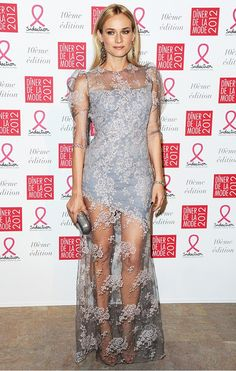 Diane Kruger stunned in this sheer lavender lace Erdem gown
