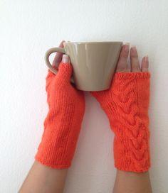 Orange Wool Fingerless Gloves Armwarmers Hand Knit Chic Winter Accessories Winter Fashion, halloween, christmas
