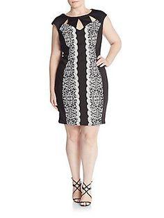 JAX, Plus Size Lace-Trim Dress - Black - Ivory - Size