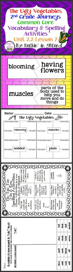 The Ugly Vegetables: Unit 2.2 Lesson 7 Spelling & Vocabulary Activities  In this bundle you will receive Vocabulary Puzzles, Vocabulary 4 square sheets, Spelling lists for student's agendas, Tic-Tac-Toe spelling activity, double consonant & -ck sort, and Rainbow write spelling paper.  These all are aligned with Common Core and goes along with Journeys.  Please follow me on TPT for more fun and exciting activities.