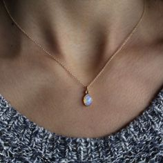 Opal & Tanzanite Delicate Necklace by ATELIER Gaby Marcos