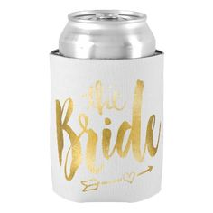 Bride Gold Can Cooler Bridal Shower Favors Gift Beverage Can Holders Wedding and Anniversary Party Favors Drink Insulators