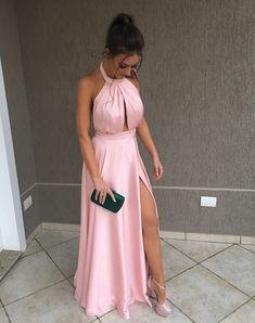 Vestido rose longo, vestido com fenda, vestido de festa longo, vestidos Cut Out Prom Dresses, Prom Dresses Long Pink, Cheap Prom Dresses, Satin Dresses, Formal Dresses, Dress Prom, Club Dresses, Homecoming Dresses, Party Dresses