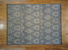 Beige Area Rug, 9' X 12' Modern Wool & Silk Damask Design Hand Knotted Rug Sh8623