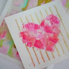 Je t'aime Watercolor Painting Pink Heart by LimezinniasDesign, $95.00