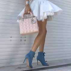 """18.4k Likes, 143 Comments - Up Close and Stylish (@upcloseandstylish) on Instagram: """"#UpClose and yesterday - #Alaïa skirt, #GianvitoRossi denim open toe boots and medium #LadyDior…"""""""