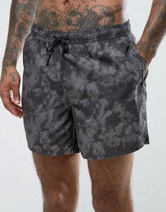New Look Swim Shorts With Tie Dye In Black