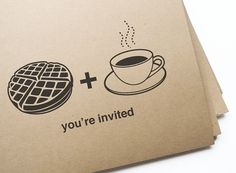 Printable waffle & coffee brunch invitations // Editable DIY Printable PDF