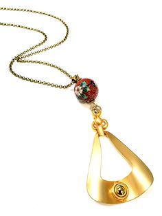 Vintage Cloisonne Rising Up Pendant Necklace | TOODLEBUNNY