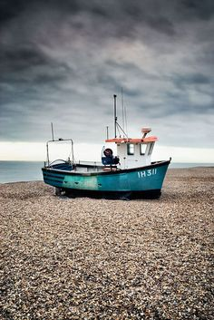 Fishing boat on aldeburgh beach, Suffolk, England
