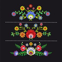Illustration about Polish pattern folk, flowers background. Illustration of drawing, culture, wallpaper - 56867694 Mexican Embroidery, Simple Embroidery, Folk Embroidery, Learn Embroidery, Polish Embroidery, Embroidery Designs, Hand Embroidery Patterns Free, Embroidery Flowers Pattern, Pattern Flower