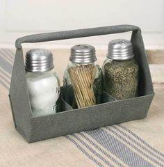 Primitive Rustic Galvanized Toolbox Mason Jar Salt Pepper Toothpick Caddy     #ToolboxMasonJarSaltPepperToothpickCaddy #Farmhouse