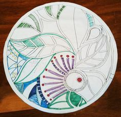 Template design of the tabletop mosaic, a full size drawing. The artist used the original plate glass tabletop as her mosaic substrate. It was placed on top of her template to give her a pattern for her glass on glass mosaic.