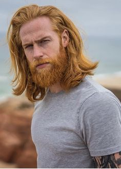 After shedding over seven stone and growing a distinctive ginger beard Gwilym Pugh has become a successful model, working with brands like Diesel and GQ. Trimmed Beard Styles, Beard Styles For Men, Hair And Beard Styles, Long Hair Styles, Hot Beards, Grey Beards, Blonde Beards, Beards Funny, Guys With Beards