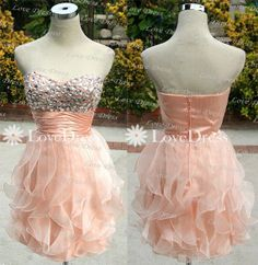 A-line Strapless Ruffle Short Prom Dress,Homecoming Dress,Graduation Dress,Cocktail Dress,Party Dress
