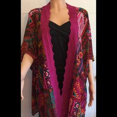 New c.u.k.y. Brand kimono Beautiful vibrant s-m kimono. Would be a amazing beach cover up. Neck to bottom measures 28 inches. Sizes run a little big. C.u.k.y. Tops Tunics