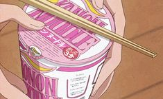 anime, noodles, and pink image