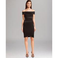HALSTON HERITAGE Dress - Off-Shoulder Satin Detail