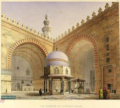 """Complex of Sultan Hasan, interior, courtyard and ablution fountain, """"Vue Interieure de la Mosquee Hassan,"""" color plate XXV of Pascal Coste's """"Architecture arabe;  1818-1826"""