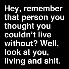 hey remember that person you thought you couldn't live without? well look at you living and shit