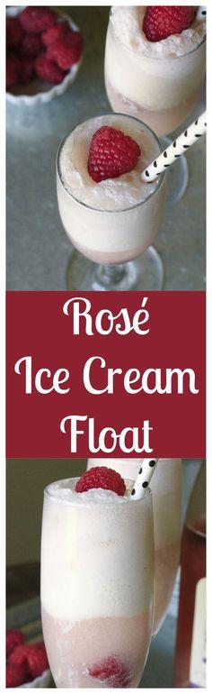 Rosé Ice Cream Float – An elegant treat made with fresh raspberries, rosé, and vanilla ice cream.  A dessert that will impress!