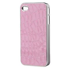 Crocodile Style Ultrathin Electroplating Hard Case for iPhone 4/4S Pink