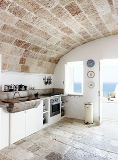 Kitchen in Puglia, Italy via Kinfolk | Remodelista Dream holiday home kitchen in my mothers village