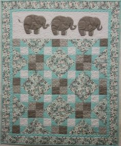 love the mint and grey!    Pachyderm Parade baby quilt pattern at Cheri Leffler Designs