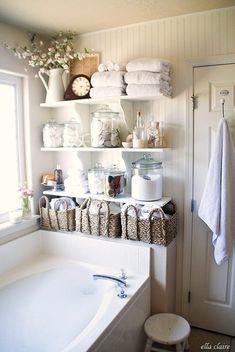 Key to cozy cottage style decorating, DagmarBleasdale.com. Love this bathroom. #cottage #bathroomideas #bathroomdesign #bathroomdecor #farmhouse #shelves #storage