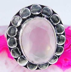 Pink Jade & 925 Silver Handmade Beautiful Ring Size P & gift-box
