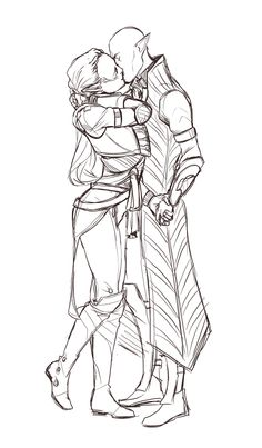 Ellana and Solas by mureh, lineart. But really, tho. He freaking rocks those Ancient Elven Robes...