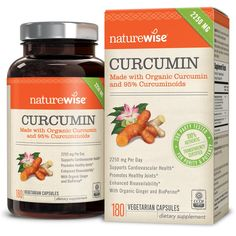 Amazon.com: NatureWise Organic Curcumin Turmeric with 95% Curcuminoids, 2250mg Max Serving Per Day From Three 750mg Capsules, High Absorption BioPerine Black Pepper for Inflammation & Joint Support, 180 Caps: Health & Personal Care