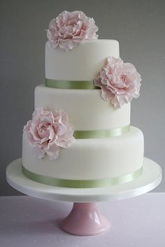 light pink wedding cake - Google Search
