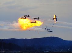 Ramstein air show disaster in 1988. Aircraft of the Italian Air Force display team collided during their display, crashing to the ground. Sixty-seven spectators and three pilots died, 346 spectators sustained serious injuries in the resulting explosion and fire.
