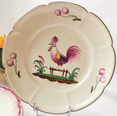 Vintage Rooster & Cherries Moustiers Chanticleer Decor Faience Dinner Plate by pentyofamelie on Gourmly