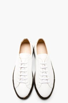 COMMON PROJECTS White Leather Camo Sole Achilles Sneakers