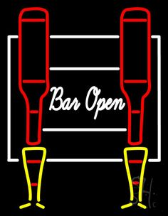 Cursive Bar Open Neon Sign 31 Tall x 24 Wide x 3 Deep, is 100% Handcrafted with Real Glass Tube Neon Sign. !!! Made in USA !!!  Colors on the sign are Red, Yellow and White. Cursive Bar Open Neon Sign is high impact, eye catching, real glass tube neon sign. This characteristic glow can attract customers like nothing else, virtually burning your identity into the minds of potential and future customers.