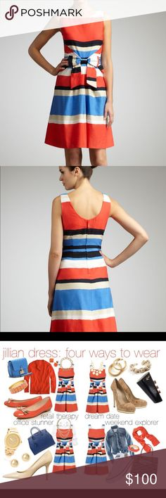 Kate Spade NY Jillian striped bow-waist dress Rock the lines in this striped kate spade new york dress. Play the bold colors back to neutral accessories and soft makeup. Overseas (multicolor) painterly striped slub weave. Bateau neckline; scoop back; sleeveless. Pleated front waist with bow at center front. Back zip and princess seams. Cotton/linen; polyester lining. Imported. kate spade Dresses Midi