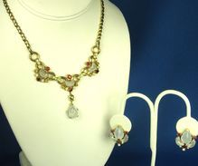 Trifari Clair De Lune Accented Necklace and Earrings