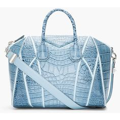 GIVENCHY Medium Blue Croc-Embossed Leather Antigona Duffle Bag ($3,005) ❤ liked on Polyvore