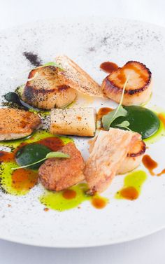 Succulent scallops always a favourite, Matt Worswick pairs with them the crunch of crispy chicken and the mild sweetness of leek.
