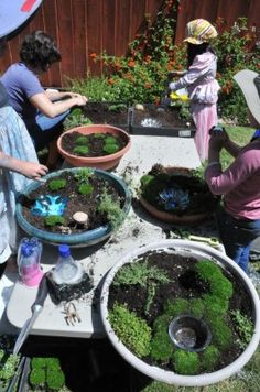 "making fairy gardens.  This looks like so much fun to do.  A great project with kids and using ""imagination""!"