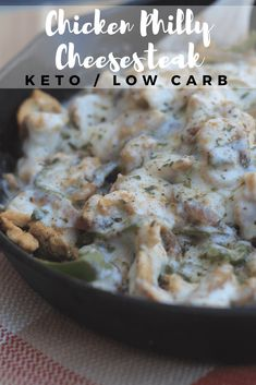 Low Carb Chicken Philly Cheesesteak - AN easy keto dinner, this chicken cheesesteak is delicious! This Low Carb Chicken Philly Cheesesteak one-skillet meal is simple and delicious! Low Carb Chicken Recipes, Keto Chicken, Low Carb Recipes, Easy Recipes, Fiesta Chicken, Atkins Recipes, Corn Recipes, Healthy Recipes, Chicken Rice