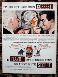 Nescafe Instant Coffee ad, 1945.