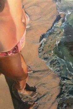 Josep Moncada, Spanish: (series-) Take A Dip [pink bikinibat shoreline]; oils on canvas. Hyper-realistic style.