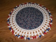 Crocheted Doily Fabric Center Crocheted Edge Red by bestdoilies, $16.00