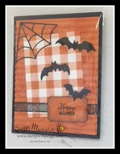"Spooky Sweets Stamp Set, Spooky Bats Punch, Black 3/8"" Glittered Organdy Ribbon, Buffalo Check Stamp, Halloween Homemade Halloween, Halloween Night, Halloween Cards, Fall Halloween, Halloween Ideas, Fall Cards, Holiday Cards, Pumpkin Cards, Valentine Greeting Cards"