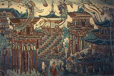 Arquitectura del estilo de la dinastía T'ang, de un fresco que describe la tierra budista.  Unknown artist of T'ang Dynasty - Mo-kao Caves