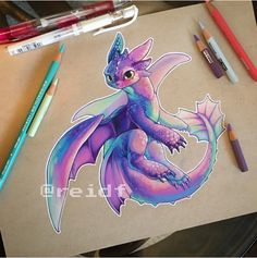 Ideas Training Drawing Watercolor For 2019 Cute Dragon Drawing, Dragon Sketch, Creature Drawings, Animal Drawings, Art Drawings, Cute Fantasy Creatures, Mythical Creatures Art, Baby Dragon Tattoos, Train Drawing